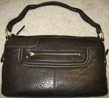 BCBG MAXAZRIA dark brown leather demi shoulder bag handbag purse-$348-NWT
