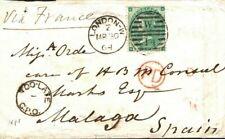 GB London SPAIN Malaga via FRANCE *Too Late* 1864 {samwells-covers} L96a