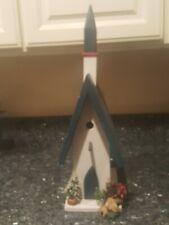 Bird House Apprx 22 ×9 × 7 Used Wooden Church Nest Standing Outdoor Garden Decor