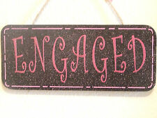 Decorative Handcrafted Wooden Door sign ENGAGED / VACANT  Glitter pink on Black