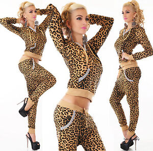 Womens 2 PCS Hoodies Crop Top Tracksuits Set Ladies Joggers Active Lounge wear