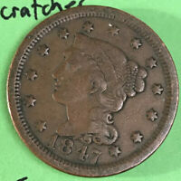 1847 Large Cent Vf Light Old Obverse Scratches