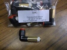 """QTY 5 SMC KQW07-34S extended male elbow air push connect fitting 1/4"""" X 1/8"""" NPT"""