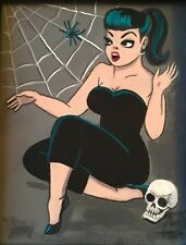EL GATO GOMEZ PINUP GIRL RETRO PRINT VINTAGE HALLOWEEN SKULL PINUP GIRL SPIDER