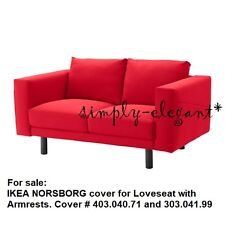 IKEA NORSBORG COVER for 2 seat sofa w/ Armrests Covers Slipcover Finnsta Red NEW