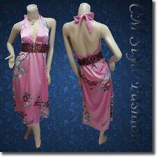 * Sexy Halter Deep V Boho Floral Satin Dress Pink w/ Belt M~L