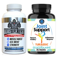 Monster Test Testosterone Booster and Joint Support Mens Workout Combo, 2-Pack