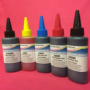 5 X DYE INK REFILL BOTTLES FOR CANON PIXMA TS5050 TS5051 TS5052 TS5053 PRINTER