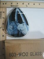 FREE US SHIPPING ok touch lamp replacement glass Panel small Two Wolf's 603-WO2