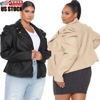 Plus Size Women's PU Leather Puff Sleeve Coat Ladies Jacket Blazer Bomber Tops