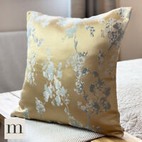 "Pair of Luxury Shimmering Woven Gold Abstract Floral Modern 18"" Cushion Cover"