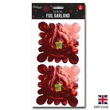 2pk Red Foil Garland Xmas Tree Hanging Christmas Ceiling Decoration G3264 UK