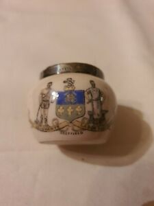 Sheffield Crested Ware ceramic matchpot with hallmarked silver rim B'ham