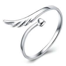 925 Silber Ring Silberring Herz Schutzengel Glücksbringer Engel Flügel