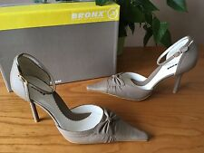 Bronx Stone taupe leather ankle strap pointed court shoes UK 4 EU 37 BNIB