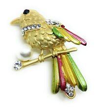 BIRD ON A BROOCH PIN Enamel Feathers Rhinestone Faux Pearl Gold Tone Jewelry