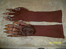 ADULT BROWN BEAST MONSTER LATEX HAIRY GLOVES COSTUME DRESS 1016BSG