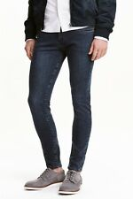 H&M Men's 'Skinny Low Waist' Jeans Washed Blue/Black Stretch 32x34 Pants **NWT**