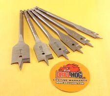 """Drill Hog® 6 Pc Spade Bit Set Wood Drill Bit Boring 3/8""""~1"""" M7 Lifetime Warranty"""