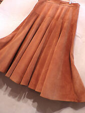 LONGUE JUPE EN CUIR / VELOURS  CARAMEL WESTERN/ VINTAGE LEATHER COUNTRY SKIRT