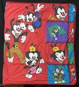 "Rare Vintage 1994 Animaniacs Blanket Quilt 74""x42"" Yakko Dot Wakko Handmade"