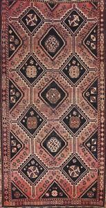 Antique Traditional Oriental Geometric Area Rug Hand-knotted Wool 5x9 ft Carpet