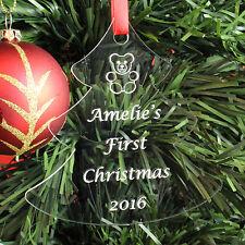 Personalizada bebé primer árbol de Navidad Decoración Adorno Regalo presente Teddy 1st