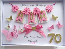 Personalised Handmade Mothers Day/Mum Birthday Card 40, 50, 60,70,80,90 with BOX