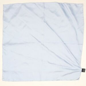 Silk Pocket Square Pale Powder Light Blue Rolled Edge Made in Japan Spots