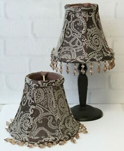 Pair (2) Silk Paisley Beaded Fabric Clip On Shade Chandelier Lamp Brown Cream