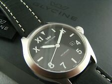 NEW Glycine Incursore Automatic Black Dial 3922.19L-ST LB9B Leather Strap Watch