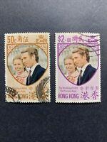 1973 HONG KONG,SC#289-290 ,PRINCESS ANNE WEDDING    USED-#2