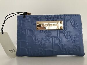 RIVER ISLAND Blue embossed mini PURSE CARD HOLDER pouch bag new WITH TAGS
