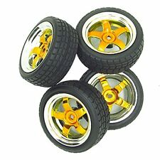 5 Spoke Yellow Wheel Rim & Gravel Tyre Tires for RC 1:10 Drift Car Plated Pack 4