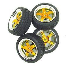 5 Spoke Yellow Wheel Rim & Gravel Tyre Tires for RC 1:10 Drift Car Plated Pack 4
