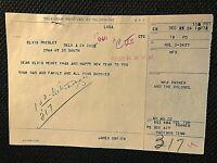 ELVIS PRESLEY VERY RARE ORIG. 1962 XMAS EVE W. UNION TELEGRAM FROM COL. PARKER!!