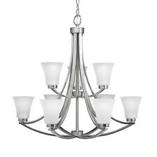 Portfolio Lyndsay 9-Light Satin Nickel 30in Lighting Ceiling Hanging Chandelier