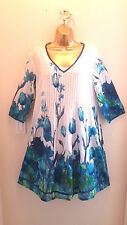 NWT La Cera Size S Shirt Dress White Superfine Cotton Flower Blue Tulips A- Line