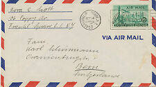 USA 1952 15 C Air Mail Statue of Liberty, New York skyscraper; Airplane Lockheed