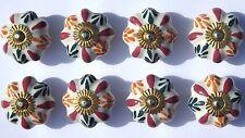 Ceramica PORCELLANA MANOPOLE Crema Rosa Fiore Stella Arancione/Verde Foglie (Ottone) x 8