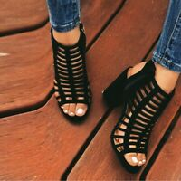 Women Chunky High Heels Sandals Gladiator Pumps Lady Summer Hollow Shoes Sandals