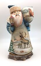 "12.5"" Russian SANTA Forrest Winter Animals Wooden Hand Carved Hand Painted"