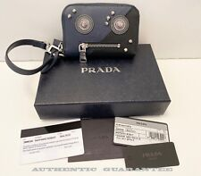 AUTHENTIC PRADA 2MM359 BALTICO Black ROBOT Coin Wristlet mini Wallet Limited NEW