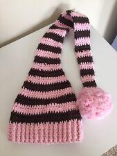 Long sleep knit striped hat for newborn girls photoshoot/photoset with pom pom