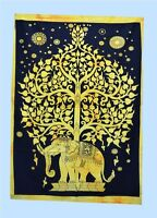 Indian Wall Hanging Cotton Tapestry Golden Print Poster Table Cloth Home Decor@@