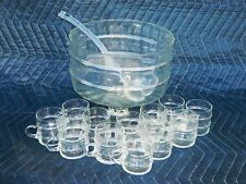 Clear Glass Ribbed Punch Bowl 14pc Set Bowl, 12 Cups & Ladle