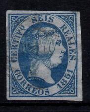 Edifil 10 usado, 6 reales, 1851. Isabel II. España, Spain 1.000€ Filatelia