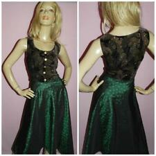 VINTAGE 80s BLACK GOLD GREEN SWING PROM PARTY DRESS 14 M 1980s EVENING