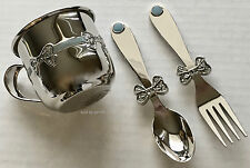 High Polished Silver & Blue Baby Mug With Fork and Spoon, New In Box