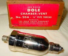 "Dole Valve Company Hot Water Radiator Heat Chamber Vent 20A 1/8"" Thread USA NOS"